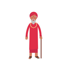 Indian guru in traditional clothes religion vector