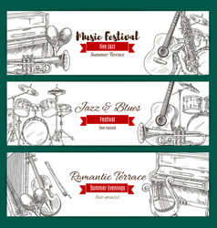 music festival banner set with music instrument vector image vector image