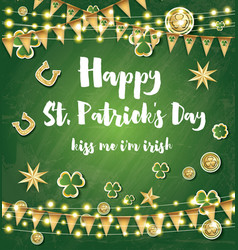 saint patricks day background with clover leaves vector image