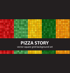 Square pattern set pizza story seamless vector