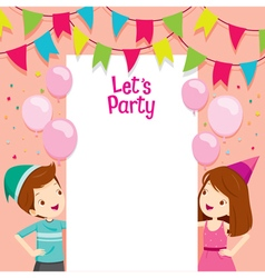 Boy And Girl On Party Frame vector image