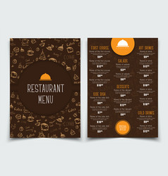 brown and orange template with drawings of hands vector image vector image