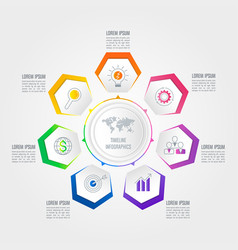 infographic design business concept with 7 options vector image vector image