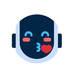 robot face icon smiling face blowing kiss emotion vector image