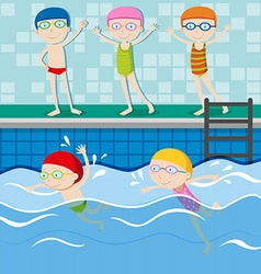 People swimming in the swimming pool vector image