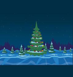 winter forest with christmas tree vector image