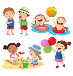 Children play on the beach vector image vector image
