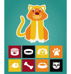 Funny cartoon cat and icons vector image