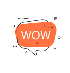 outline speech bubble with wow phrase vector image vector image