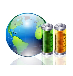 world and battery vector image vector image