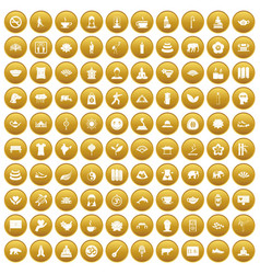 100 yoga icons set gold vector