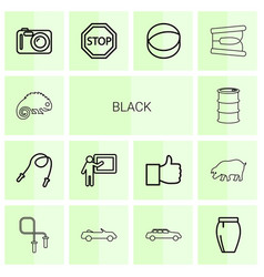 14 black icons vector image