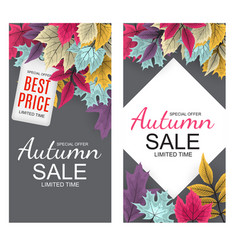 Abstract background with falling autumn leaves vector