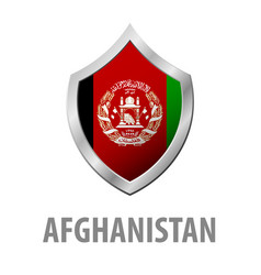 afghanistan flag on metal shiny shield vector image