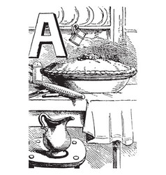 Alphabet a apple pie vintage vector