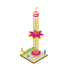Amusement park attraction isometric 3d element vector