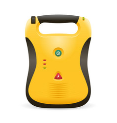 Automated external defibrillator in yellow color vector