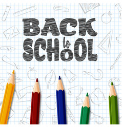 back to school doodles elements with colorful penc vector image