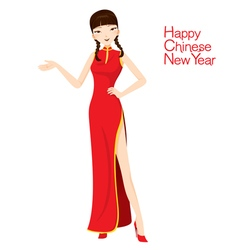 Beautiful Woman With Cheongsam vector image