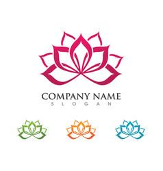 Beauty lotus flowers design logo template icon vector