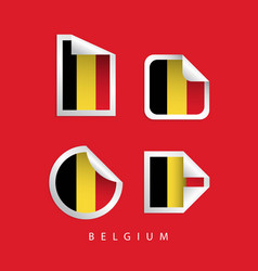 belgium label flags template design vector image