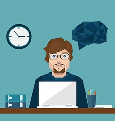 Businessman in office hard Working vector image