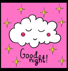 Cartoon sleeping cloud with stars vector