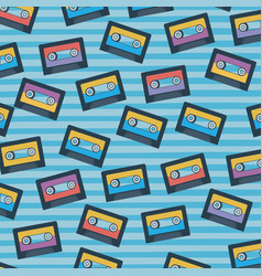 cassettes pattern set on pop art linear color vector image
