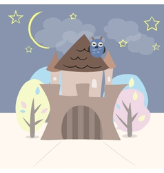 Castle with trees owl stars and moon vector image