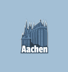 cathedral in city aachen in monochrome vector image
