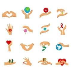 Charity Hands Flat Icon Isolated Set vector