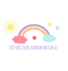 children s background with sun cloud and stars vector image