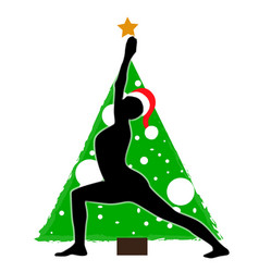 Christmas new year yoga asana on background of vector