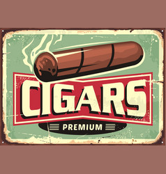 Cigars store retro sign design template vector