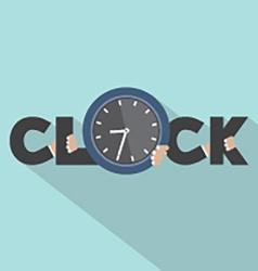 Clock Typography With Hands Symbol Design vector image vector image
