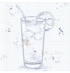 Cocktail Long Island Iced Tea on a notebook page vector image