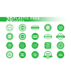 collection 20 plastic free various badges vector image