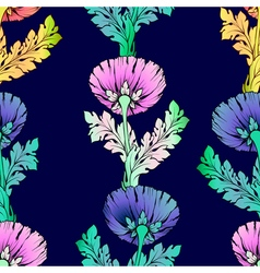 Colorful garden flowers Seamless hand-painted soft vector image