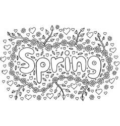 coloring page for adults with mandala and spring vector image