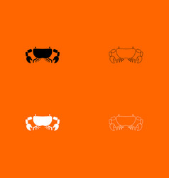 Crab black and white set icon vector