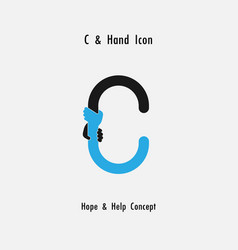 Creative c- alphabet icon abstract and hands icon vector