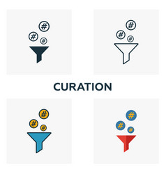 curation icon set four elements in diferent vector image
