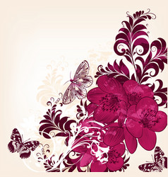 cute floral background with hand drawn flowers vector image
