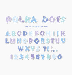 Cute polka dots font in pastel blue paper cutout vector