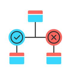 Decision diagram color icon block chart problem vector