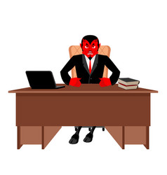 diablo boss sitting in office devil of workplace vector image
