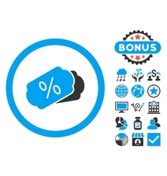 Discount Coupons Flat Icon with Bonus vector image
