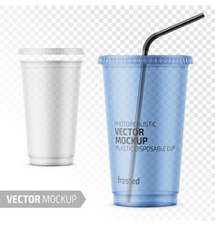 disposable plastic cup with lid and straw vector image