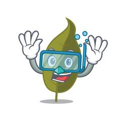 Diving bay leaf character cartoon vector