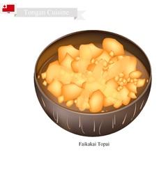 Faikakai Topai or Tongan Dumplings in Coconut Milk vector image